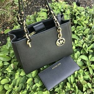 MICHAEL KORS SOFIA TOTE  BAG+wallet BLACK Leather